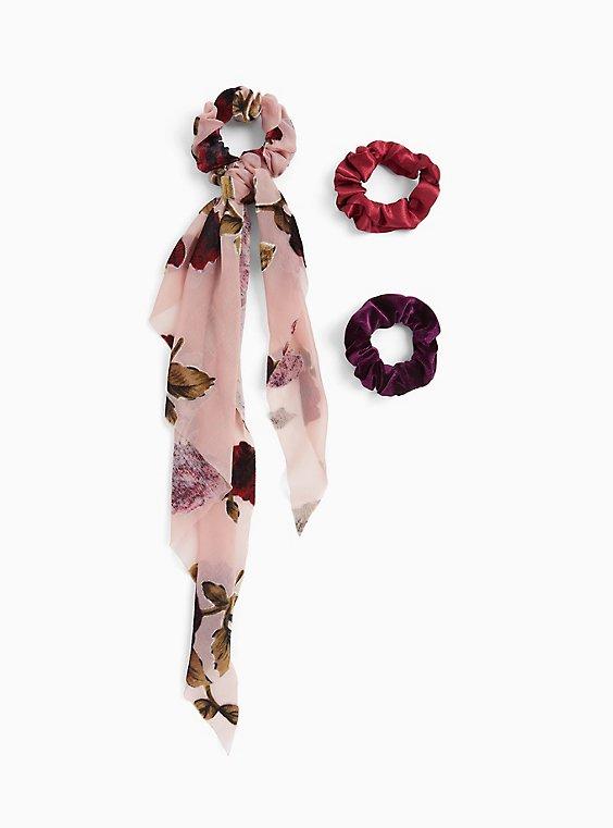 Pink Floral Scarf Hair Tie Pack - Pack of 3, , hi-res