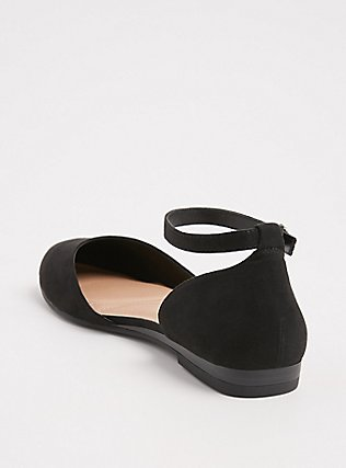 Black Faux Suede Ankle Strap Flat (WW), BLACK, alternate