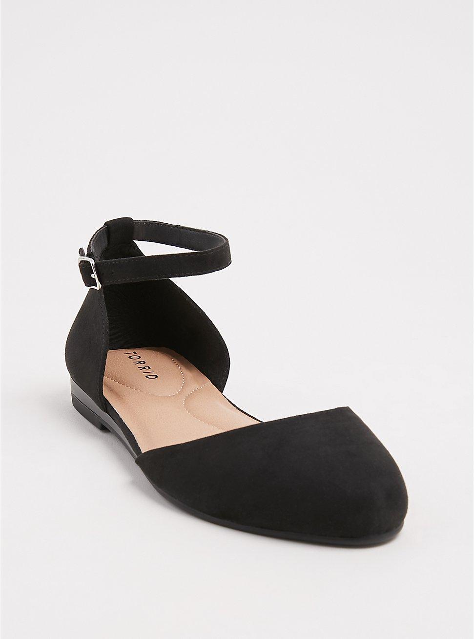 Black Faux Suede Ankle Strap Flat (WW), BLACK, hi-res