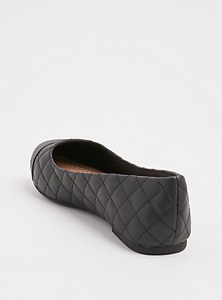 Black Faux Leather Quilted Flat (WW), BLACK, alternate