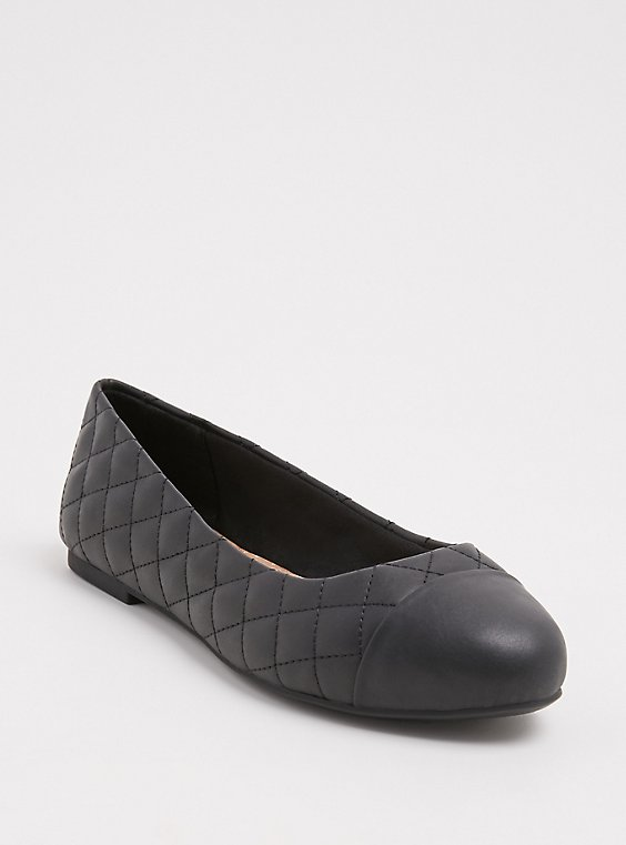 Black Faux Leather Quilted Flat (WW), , hi-res