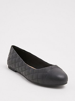 Black Faux Leather Quilted Flat (WW), BLACK, hi-res