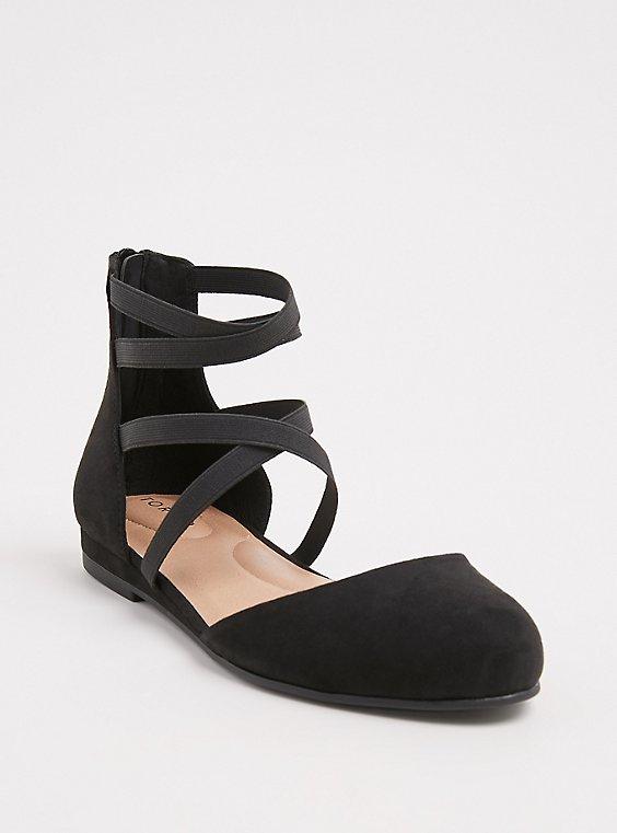 Plus Size Black Faux Suede Strappy Flat (WW), , hi-res