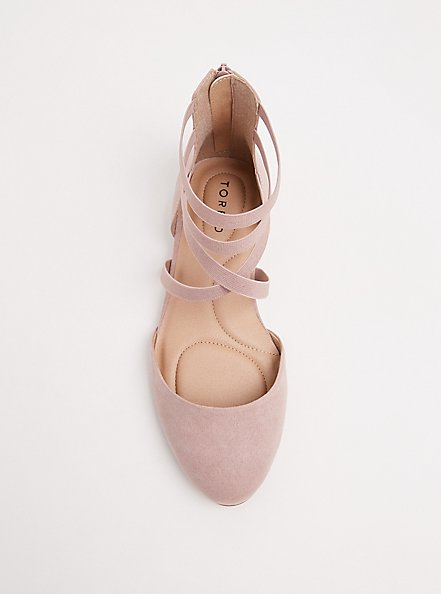 Blush Pink Faux Suede Strappy Flat (WW), BLUSH, alternate