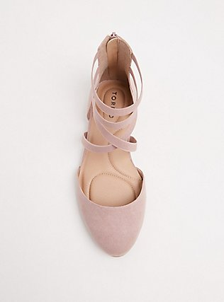 Blush Pink Faux Suede Strappy Flat (WW), BLUSH, alternate