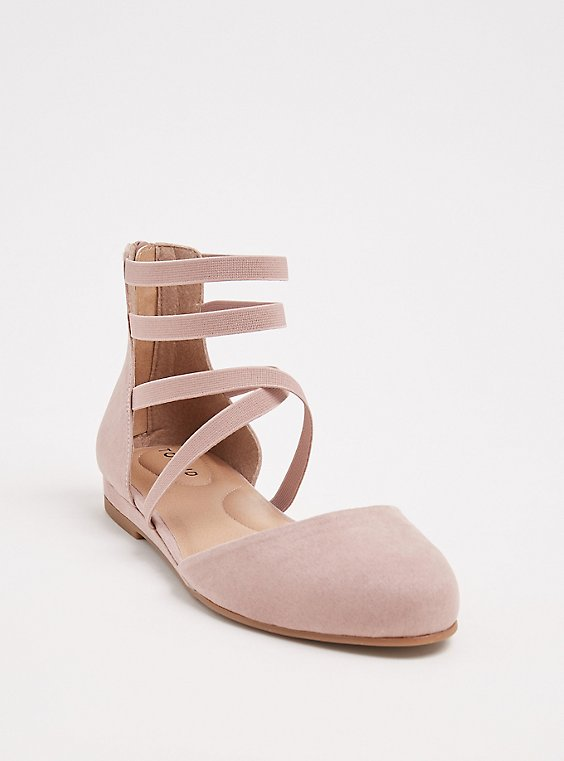 Blush Pink Faux Suede Strappy Flat (WW), , hi-res