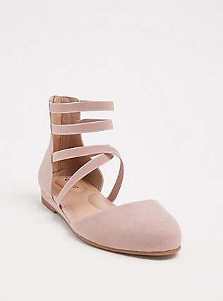 Blush Pink Faux Suede Strappy Flat (WW), BLUSH, hi-res