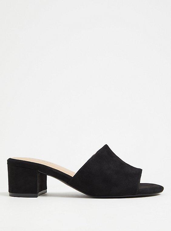 Black Faux Suede Block Heel Mule (WW), , hi-res