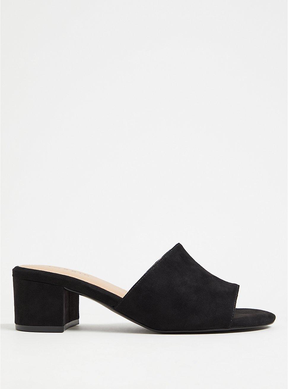 Black Faux Suede Block Heel Mule (WW), BLACK, hi-res