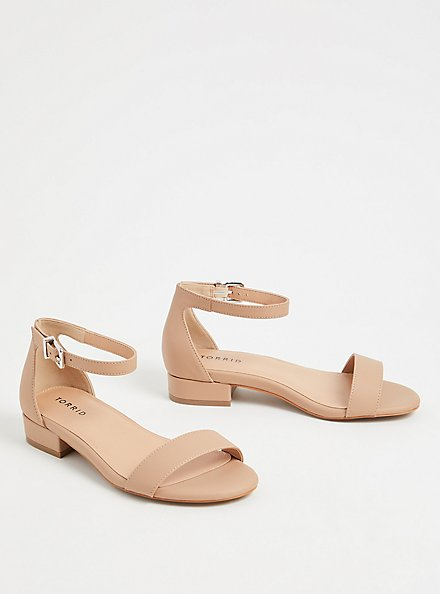 Beige Faux Leather Ankle Strap Low Heel (WW), , alternate