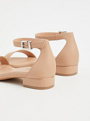 Nude Faux Leather Ankle Strap Low Heel (WW), NUDE, alternate