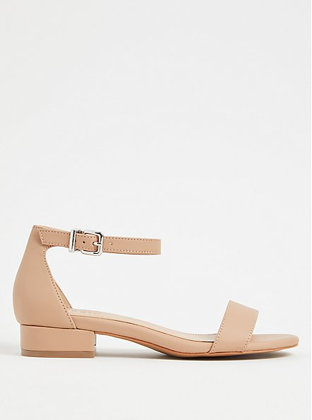 Beige Faux Leather Ankle Strap Low Heel (WW), , hi-res