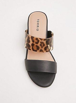 Plus Size Black & Leopard Faux Leather Block Heel Sandal (WW), BLACK, alternate