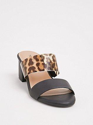 Plus Size Black & Leopard Faux Leather Block Heel Sandal (WW), BLACK, hi-res