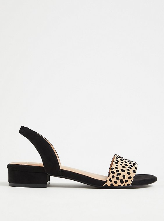 Plus Size Black & Leopard Low Heel Slingback (WW), , hi-res
