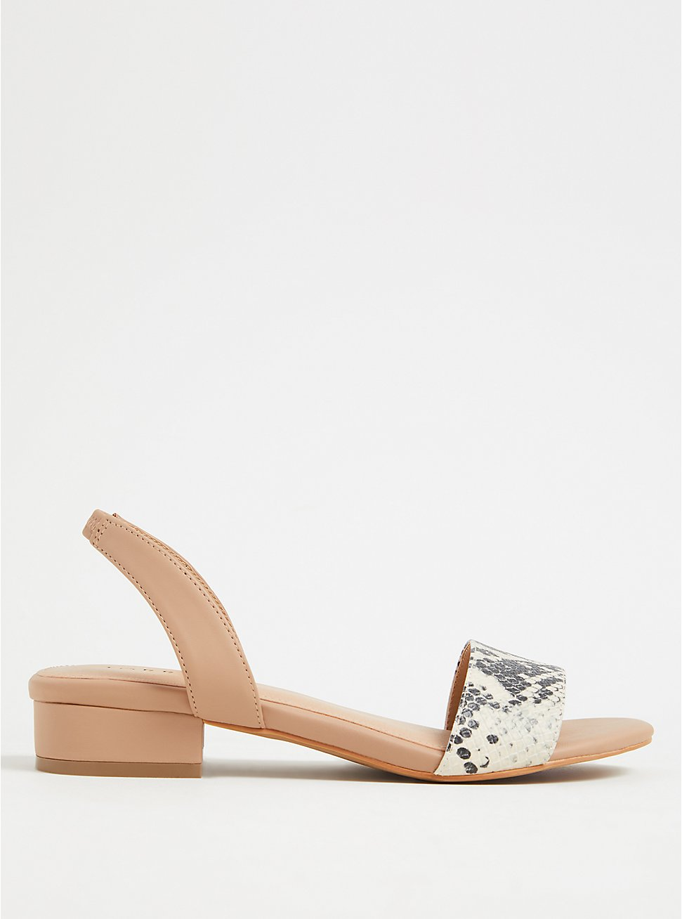Snakeskin Print Faux Leather Low Heel Slingback (WW), , hi-res