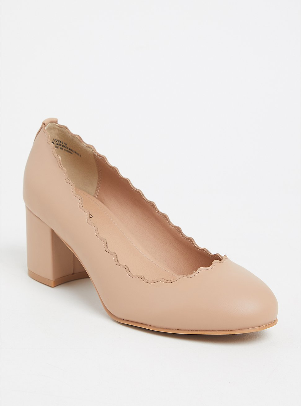 Nude Faux Leather Scalloped Pump (WW), TAN/BEIGE, hi-res