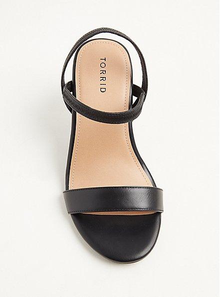 Plus Size Black Faux Leather Slingback Heel (WW), BLACK, alternate