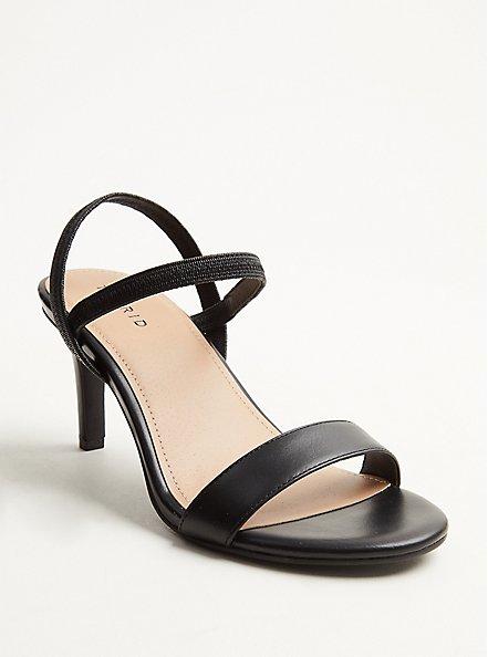Plus Size Black Faux Leather Slingback Heel (WW), BLACK, hi-res