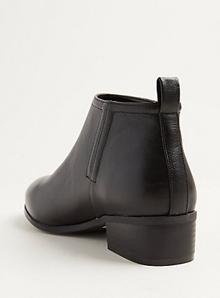 Black Faux Leather V-Cut Ankle Boot (WW), BLACK, alternate