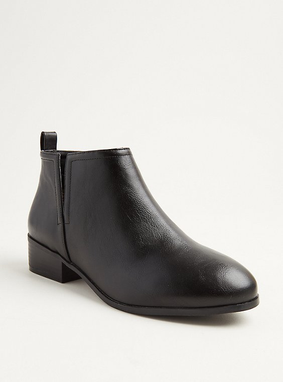 Black Faux Leather V-Cut Ankle Boot (WW), , hi-res
