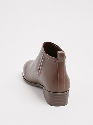 Brown Faux Leather V-Cut Ankle Boot (WW), BROWN, alternate