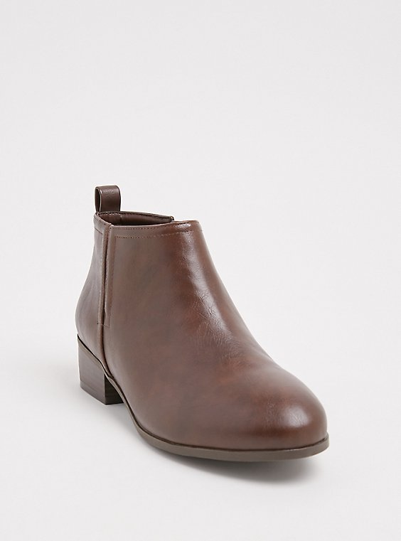 Brown Faux Leather V-Cut Ankle Boot (WW), , hi-res