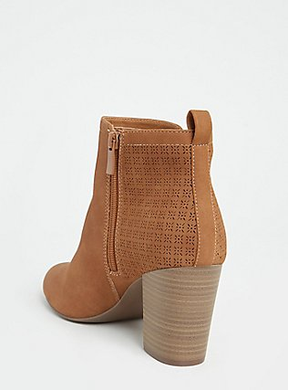 Cognac Faux Suede Perforated Back Bootie (WW), COGNAC, alternate
