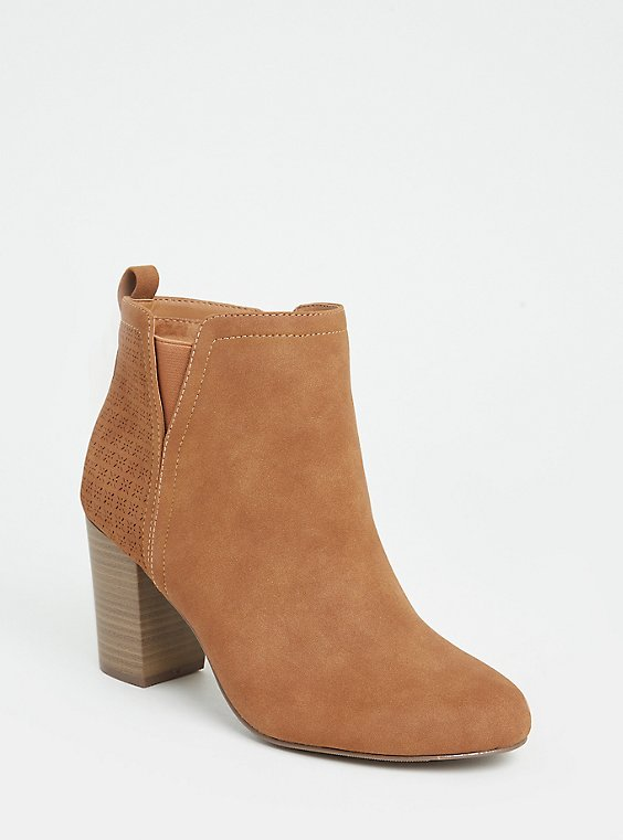 Plus Size Cognac Faux Suede Perforated Back Bootie (WW), , hi-res