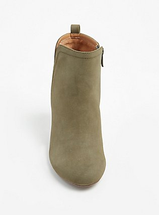 Olive Green Faux Suede Perforated Back Bootie (WW), OLIVE, alternate