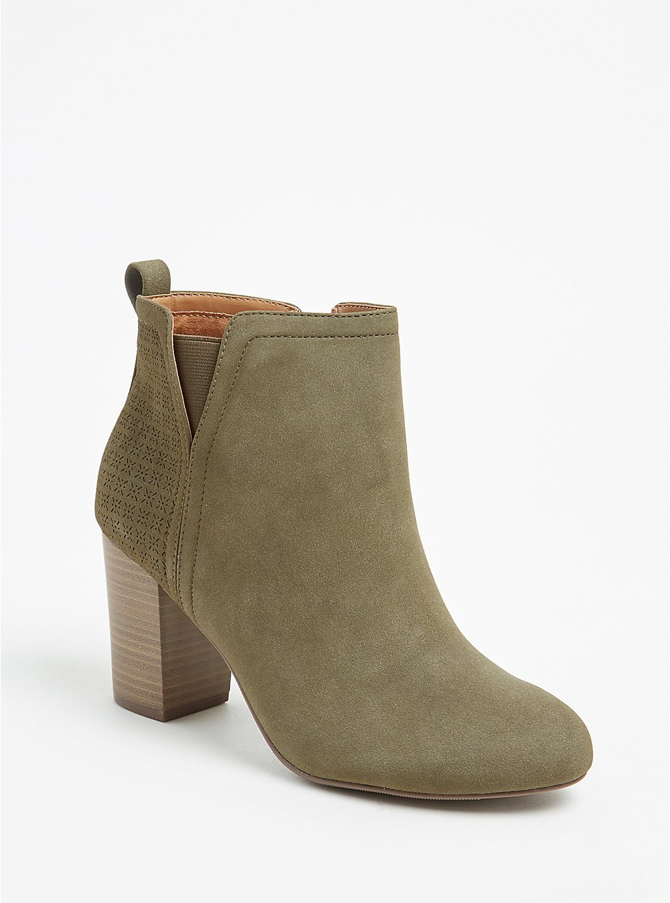Olive Green Faux Suede Perforated Back Bootie (WW), OLIVE, hi-res