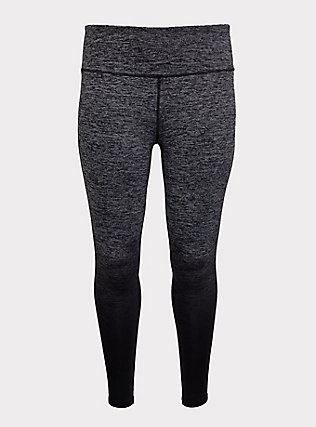Dark Grey & Black Ombre Space-Dye Wicking Active Legging, MULTI, flat