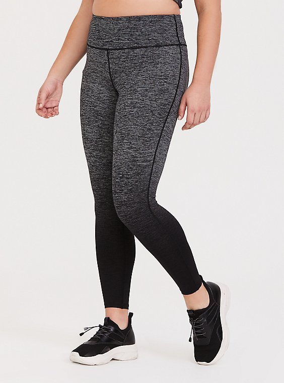 Dark Grey & Black Ombre Space-Dye Wicking Active Legging, , hi-res