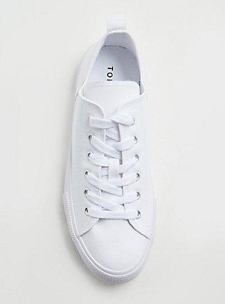 Plus Size White Canvas Lace-Up Sneaker (WW), WHITE, alternate