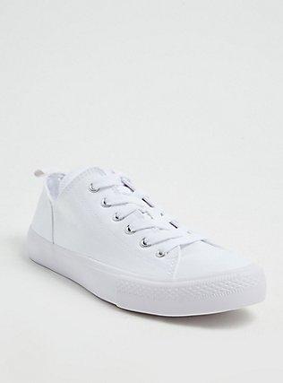 Plus Size White Canvas Lace-Up Sneaker (WW), WHITE, hi-res