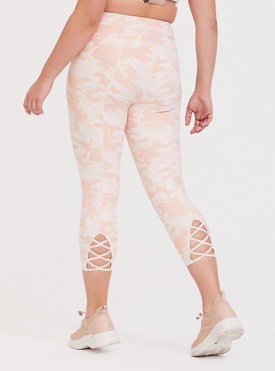 Pink Camo Lattice Back Crop Wicking Active Legging, , hi-res