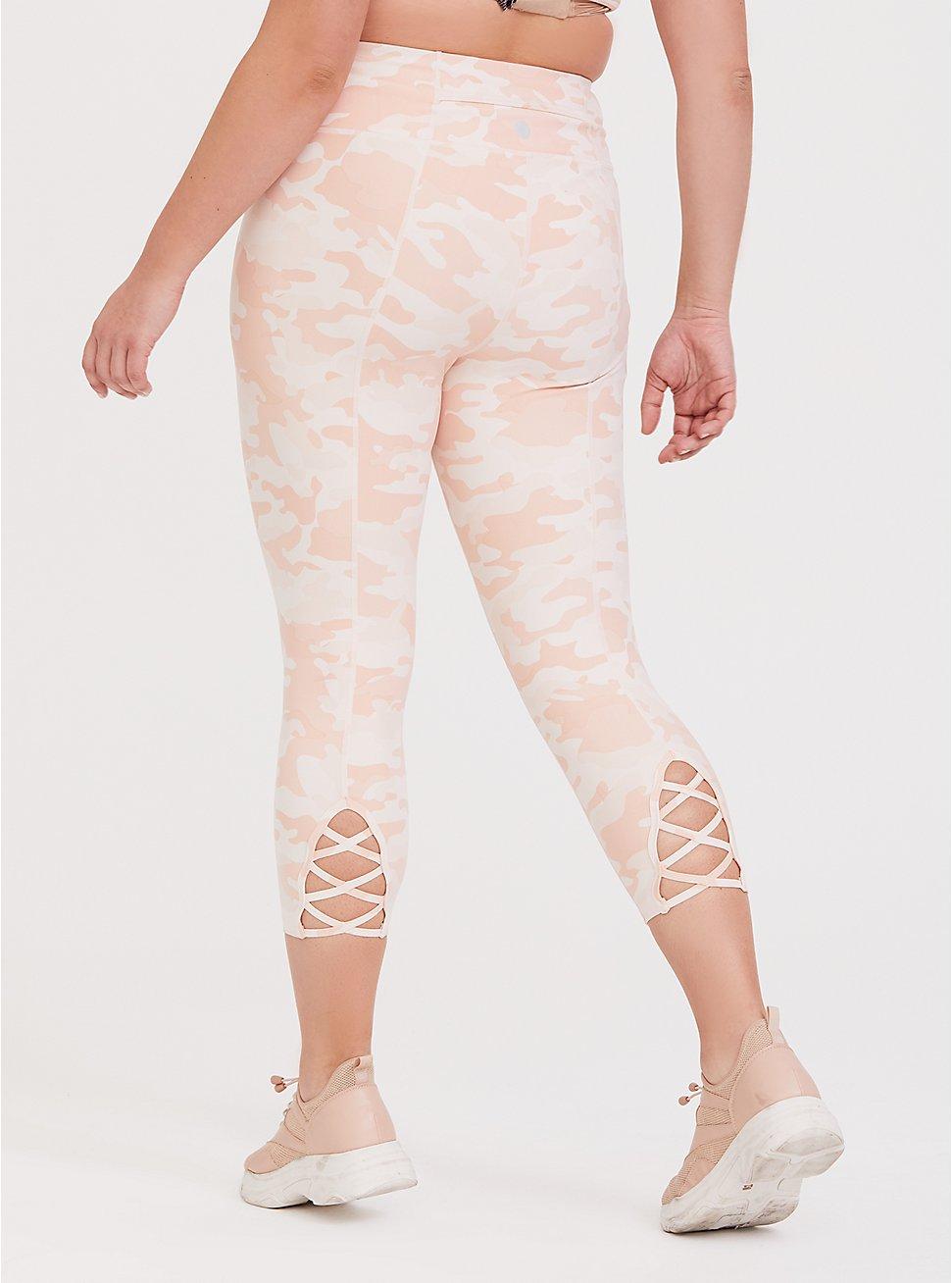 Pink Camo Lattice Back Crop Wicking Active Legging, MULTI, hi-res