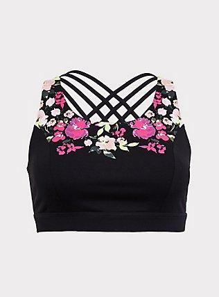 Black Floral Lattice Back Wicking Sports Bra, DEEP BLACK, flat
