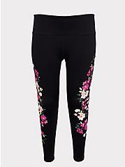 Black Floral Wicking Active Legging, DEEP BLACK, hi-res
