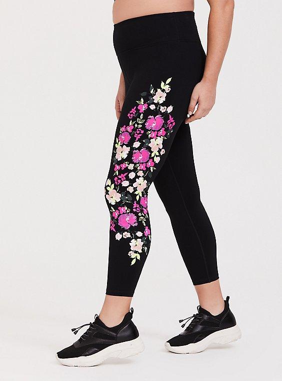 Black Floral Wicking Active Legging, , hi-res