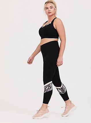 Black Snakeskin Print Inset Wicking Sports Bra, DEEP BLACK, alternate