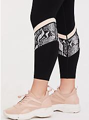 Black Snakeskin Print Inset Wicking Active Legging with Pockets, DEEP BLACK, alternate