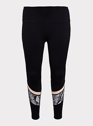 Black Snakeskin Print Inset Wicking Active Legging with Pockets, DEEP BLACK, flat