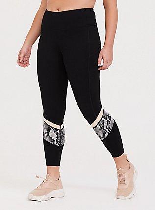 Black Snakeskin Print Inset Wicking Active Legging with Pockets, DEEP BLACK, hi-res