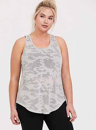 Light Grey Camo Burnout Active Tunic Tank, , hi-res