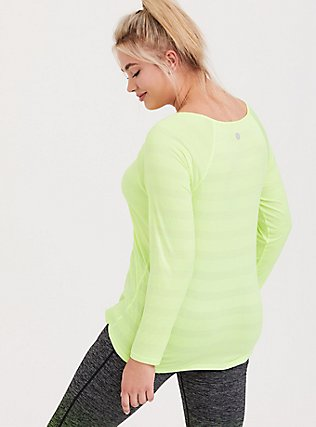 Plus Size Neon Yellow Stripe Active Long Sleeved Tee, YELLOW, alternate