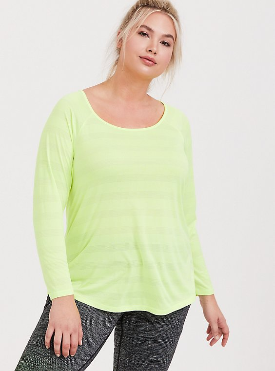Plus Size Neon Yellow Stripe Active Long Sleeved Tee, , hi-res