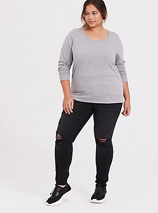 Plus Size Light Grey Lattice Back Active Sweatshirt, CHARCOAL, alternate