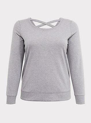 Light Grey Lattice Back Active Sweatshirt, CHARCOAL, flat
