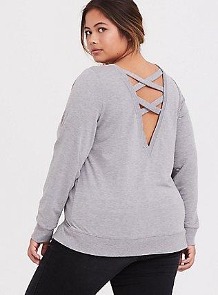 Plus Size Light Grey Lattice Back Active Sweatshirt, CHARCOAL, hi-res